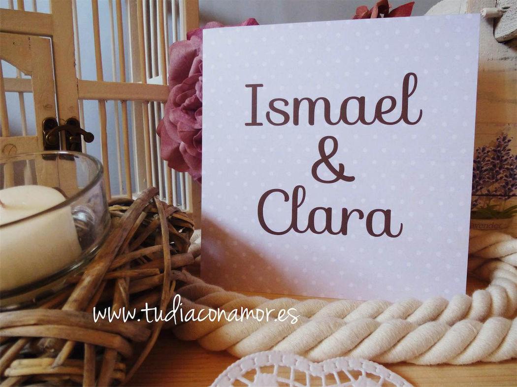 Invitación de boda vintage romántica con topos