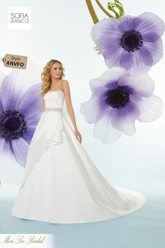 Style ANVFO Selma  Diamanté and crystal beaded waistband on a larissa satin gown with asymetrical draping