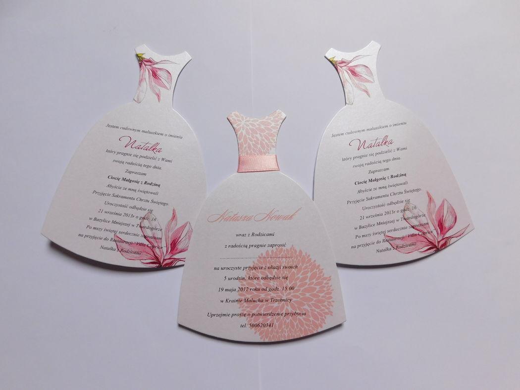 Home Cards, zaproszenia w kształcie sukieneczek.