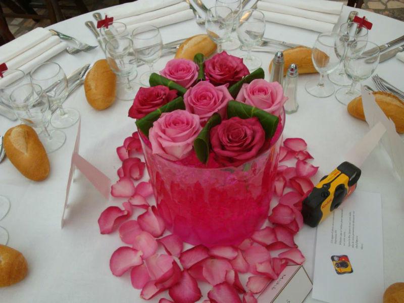 Centre de table rose - Tiges et Pétales