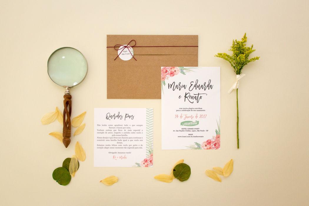 Convite Floral Rústico - Madu e Renato