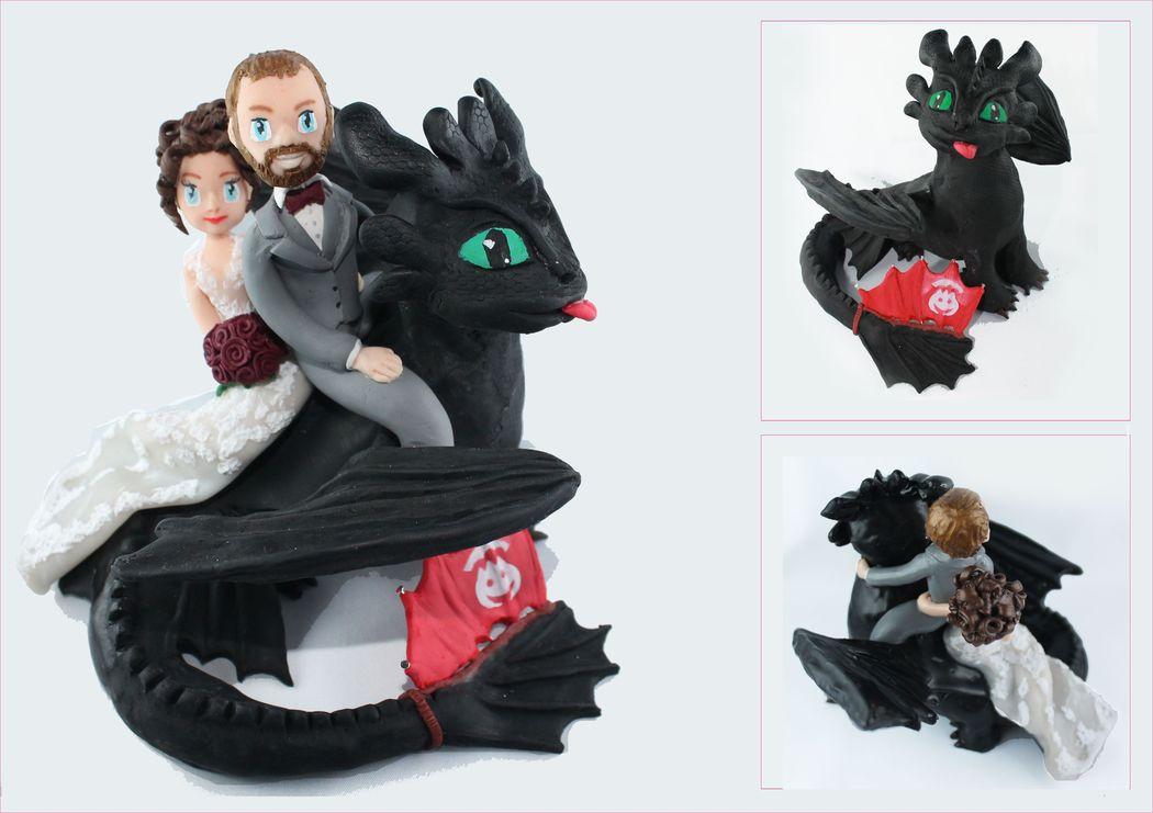 un cake topper sous le thème de Dragon