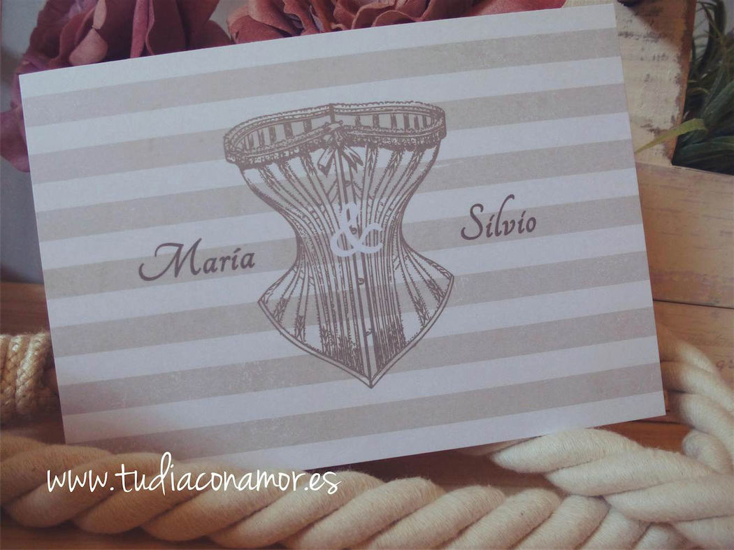 Postales de boda vintage con corset