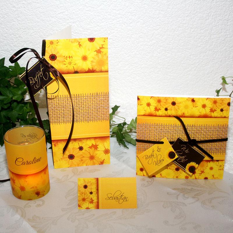 Cela-Design Kartenset Sonnenblumen mit Einladung, Buffetkarte, Tischkarte & Teelicht-Gastgeschenk