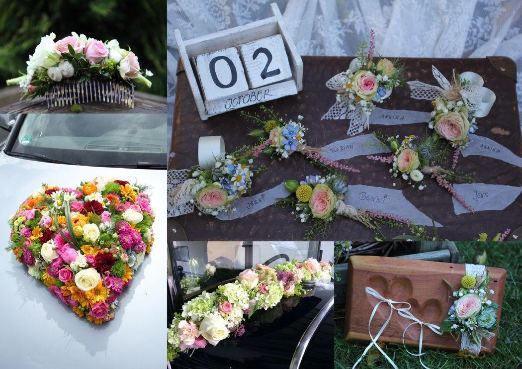 Persönlich und nur für Ihre Hochzeit...Haarschmuck, Autoschmuck, Armbänder, Anstecker und mehr.
