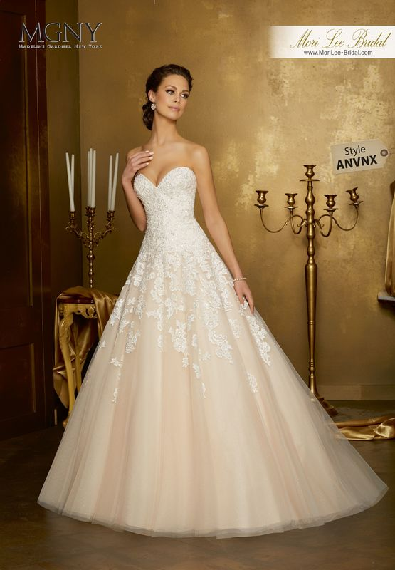 Style ANVNX Olinda  Crystal beaded embroidered appliqués on a tulle ball gown over sparkle tulle