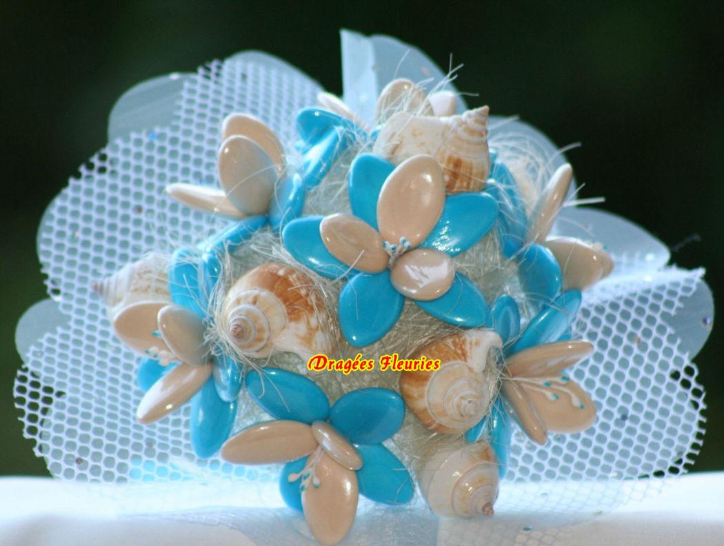 Dragées Fleuries Bouquet mariée; idée thème mer, avec des coquillages