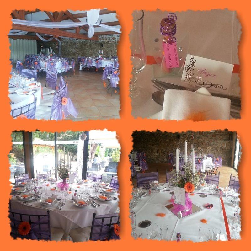 Inspiration hindoue, décoration en fuchsia, orangé et violet, avec plumes et strass. Décoration de la salle de réception, des tables. conception des dragées et des composition de centres de tables.