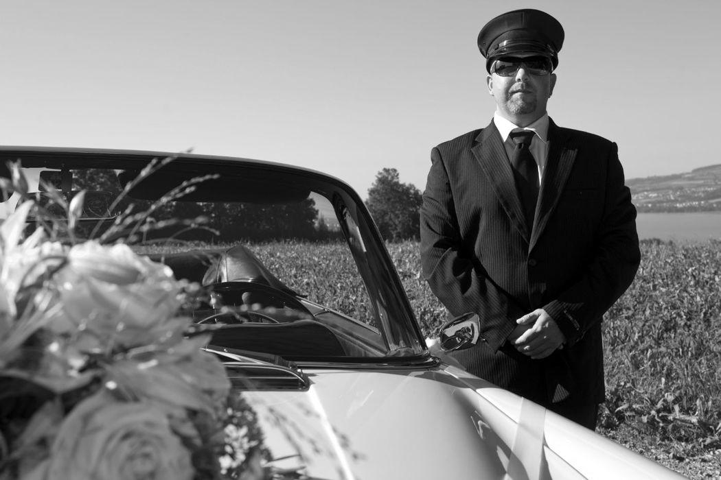 Beispiel: Hochzeitsauto mit Chauffeur, Foto: Die Hochzeitsfahrt.