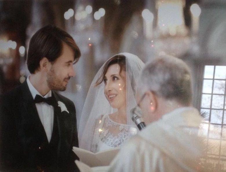 Agostino e Camilla durante la cerimonia allAra Coeli