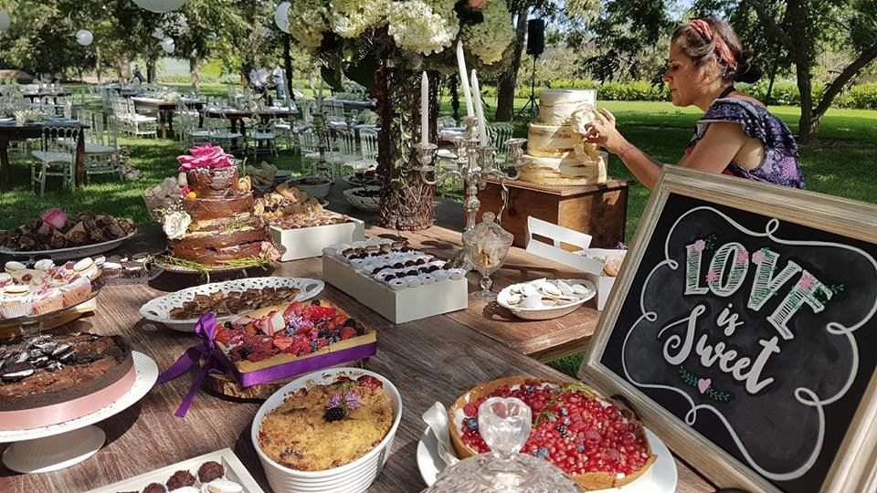 Pizarra mesa de dulces