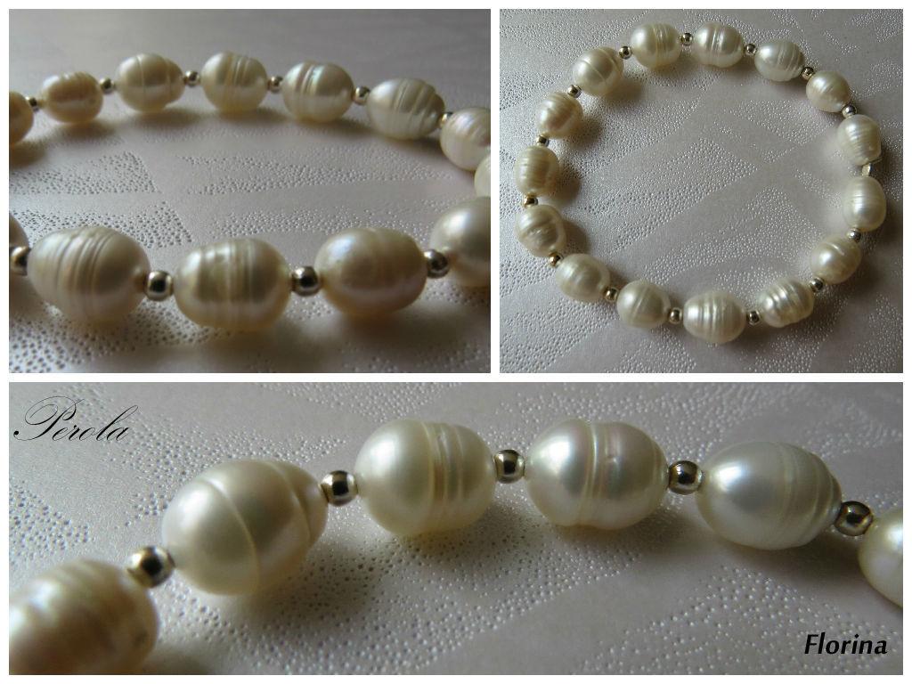 Florina, pulsera de balines de plata y perlas grandes