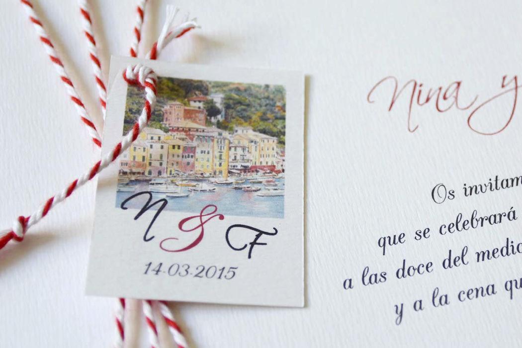 Detalle de la invitación con acuarela de Portofino.