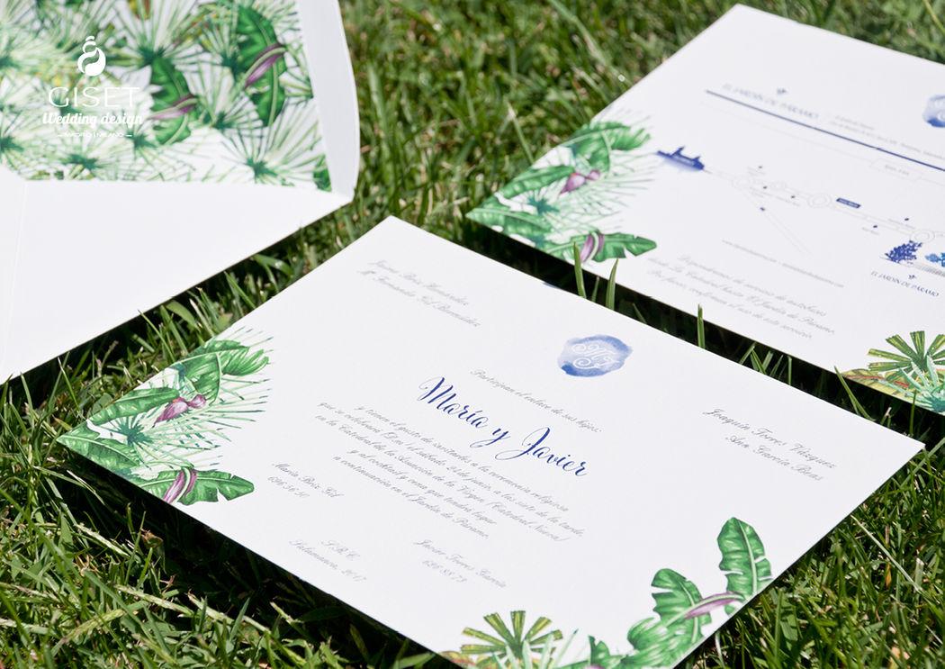 Invitaciones y planos estilo tropical