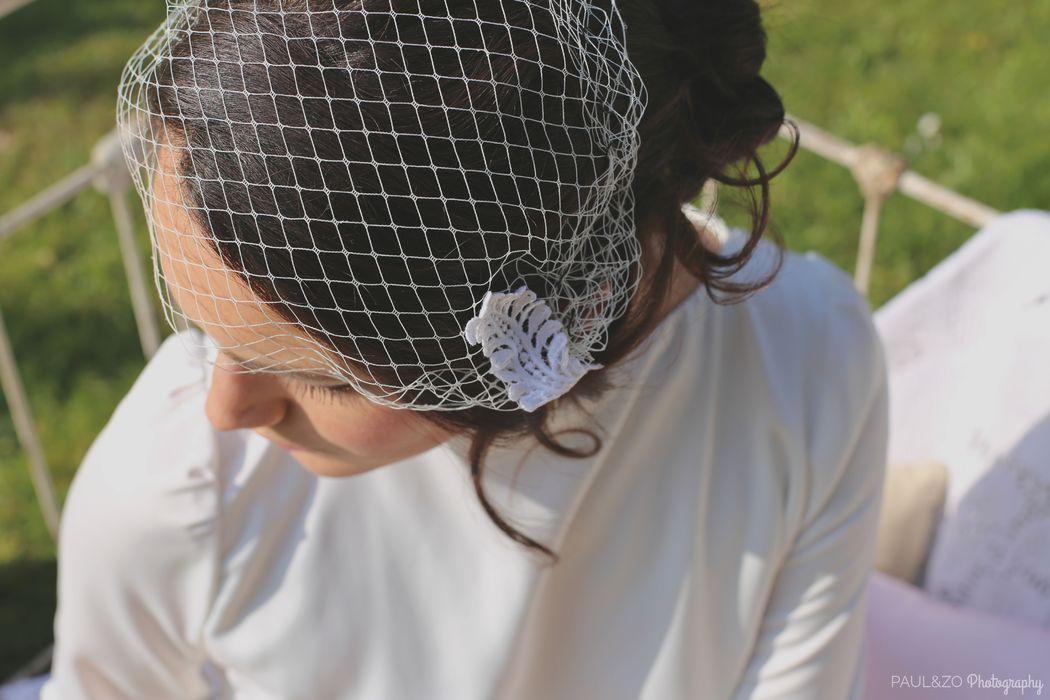 Voilette et dentelle de coté Robe atelier d'Elea