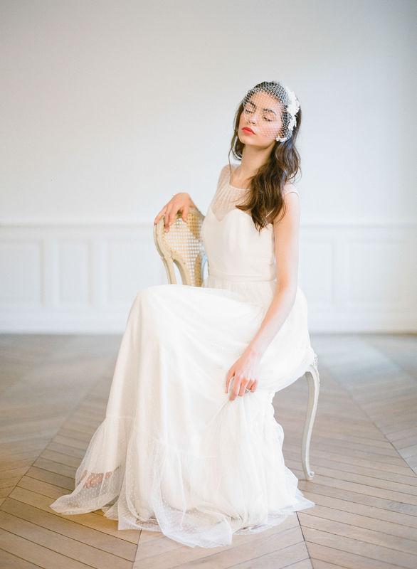 Voilette de mariée Rétro avec motif en dentelle et nacre