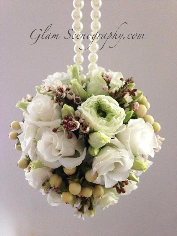 Bouquet a borsetta. Glam Scenography