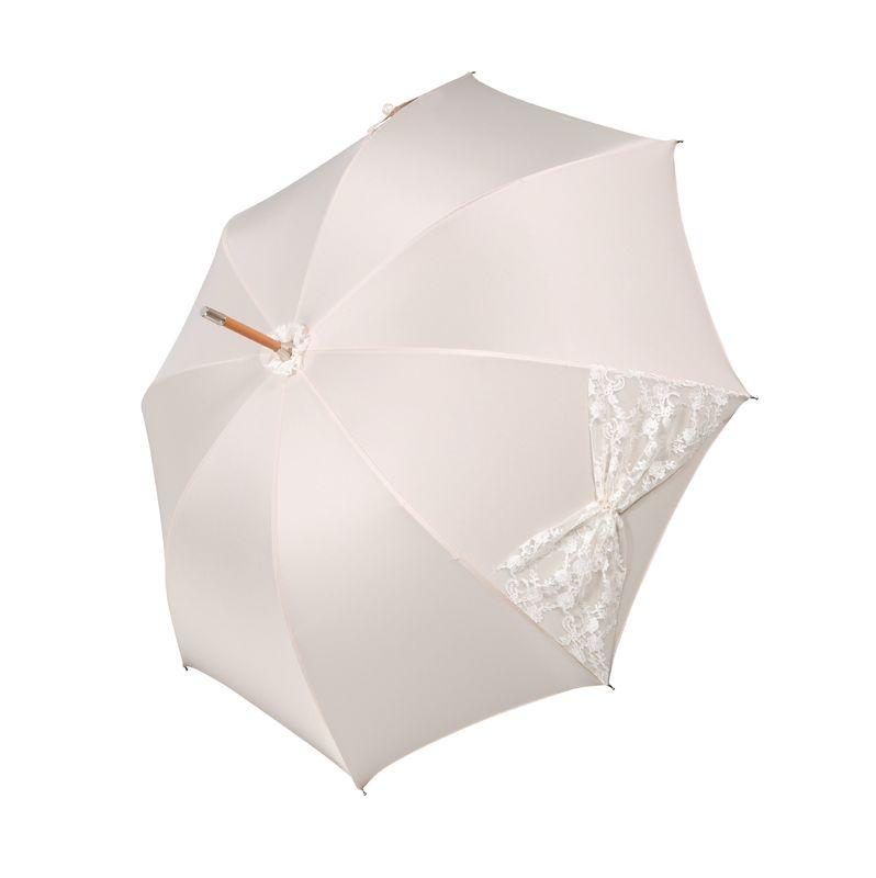 Parapluie Mariage de luxe - Crème avec nœud en dentelle blanche - Fabriqué à la main en Autriche