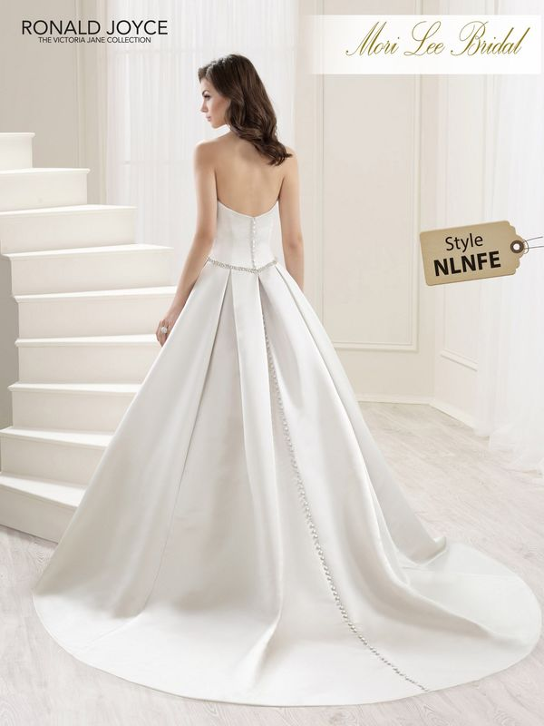 Style NLNFE LOVE  A STRAPLESS SATIN GOWN WITH BUTTON BACK DETAIL, BEADED BODICE AND WAISTBAND. PICTURED IN OYSTER.  COLOURS WHITE, IVORY, OYSTER