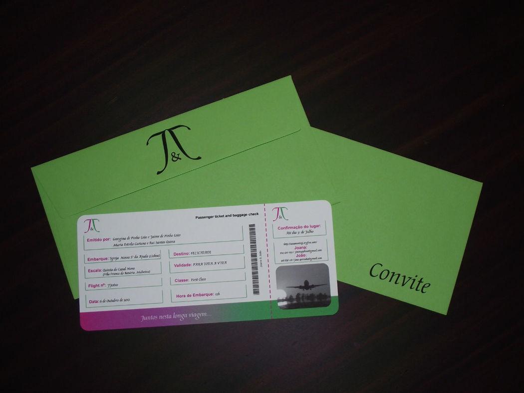 Convite Bilhete de Avião com envelope personalizado