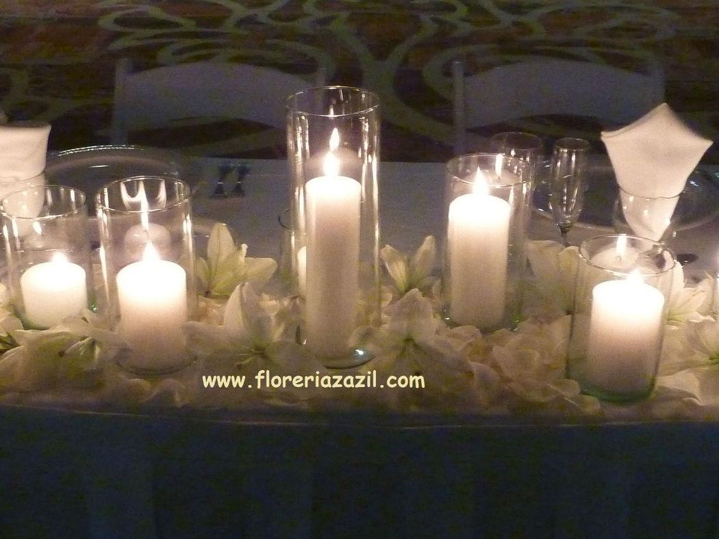 Decoración con velas y veladoras de parafina