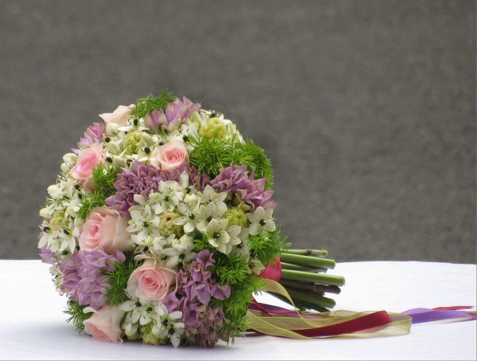 Bouquet de Noiva Rosa Lilás e Verde