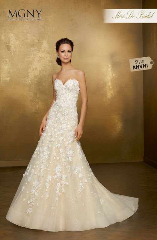 Style ANVNI Oleander  Crystal beaded, hand-cut, three dimensional floral appliqués and embroidery on tulle