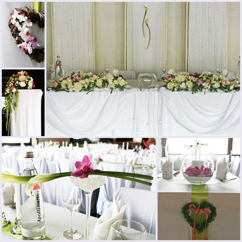 Zarte Orchideen - eingebunden in weiß-grüne Bouquets.