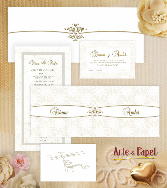 Fina Invitacion de noche con un sobre elegante y detalles en oro.