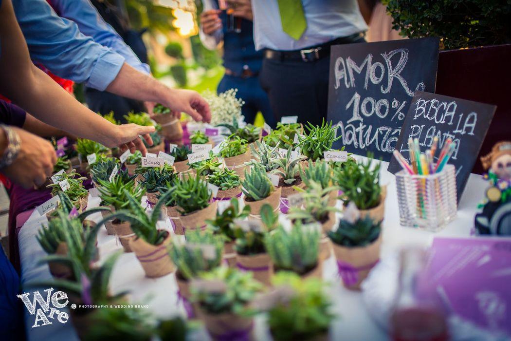We Are. - Wedding planner. Diseño y organización de boda. Detalle invitados de lo más natural. Plantas personalizadas con el nombre de cada invitado.
