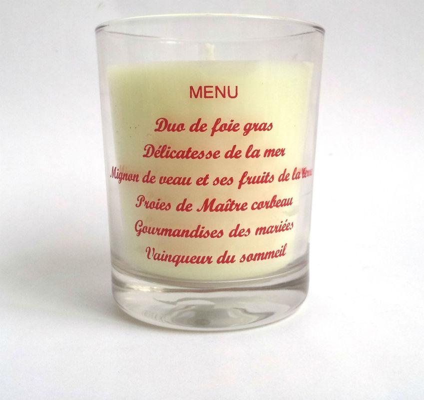 Bougie grand verre sur mesure menu