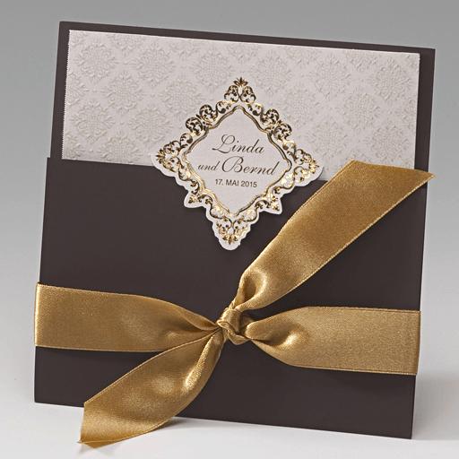 Beispiel: Elegante Hochzeitseinladung, Foto: Der-hochzeitskartenshop.de.