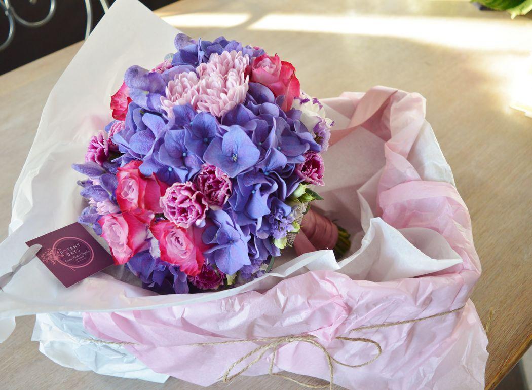 Bouquet de mariée violet et fuchsia