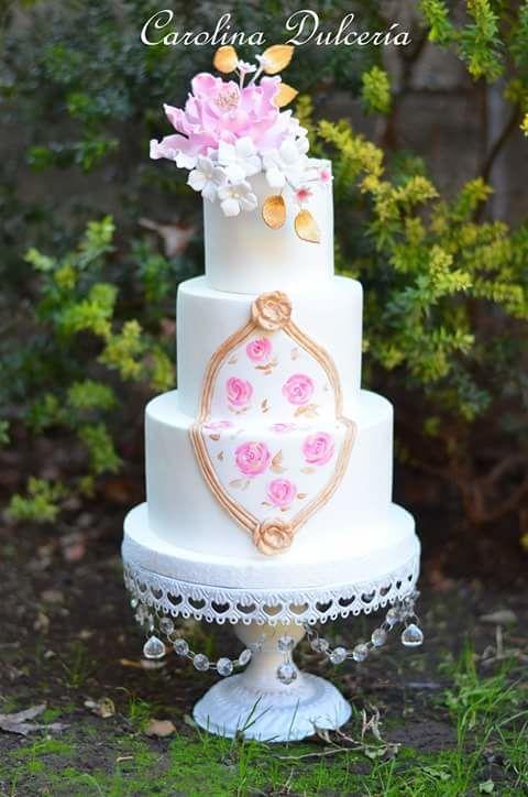 Torta novios Flores y plaqué barroco
