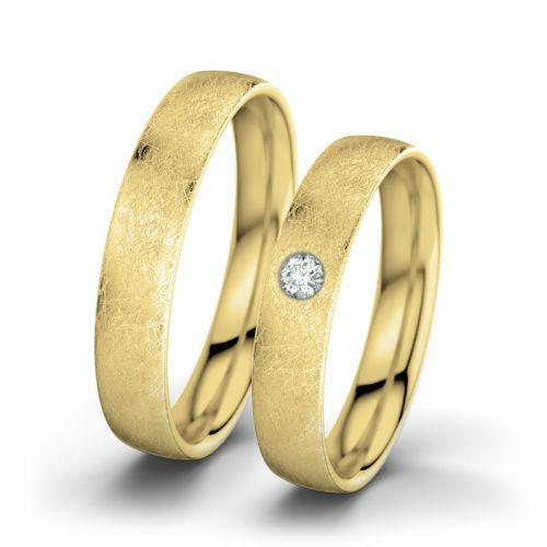 Beispiel: Julia & Romeo - Gelbgold, eismatt, Foto: 21 Diamonds.