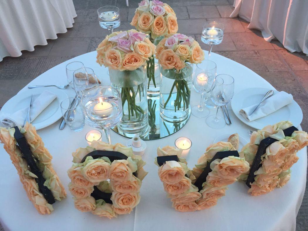 centre de table des mariés