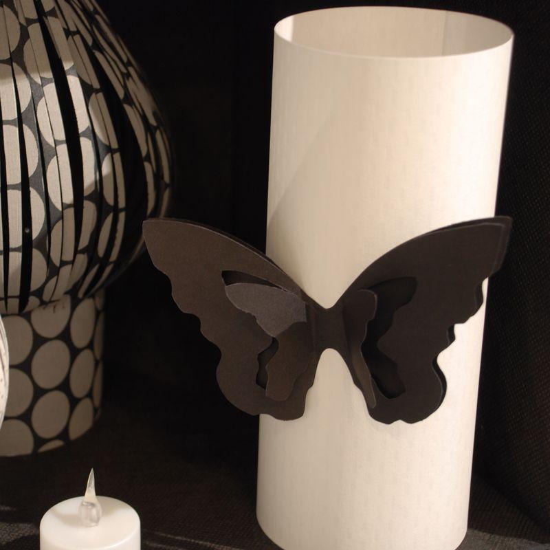 Photophore cylindre avec papillon
