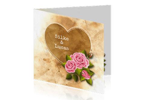 vintage trouwkaart met romatische rozen
