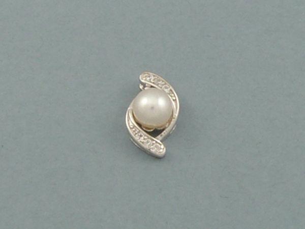 Colgante de Plata con Perla y Circonitas | Platua - Joyería Online