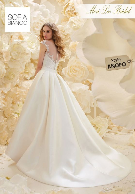 Style ANOFO LARISSA SATIN SLIM FIT DRESS WITH ILLUSION BACK, EMBROIDERED LACE APPLIQUES AND A REMOVABLE LARISSA SATIN OVERSKIRT   COLOURS WHITE OR IVORY