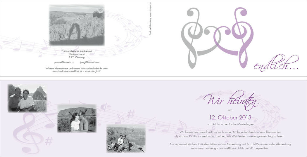 Hochzeitskarte lang 4-seitig, 21x10.5 cm.,  2-farbig. Foto: AKHOF-Print AG.