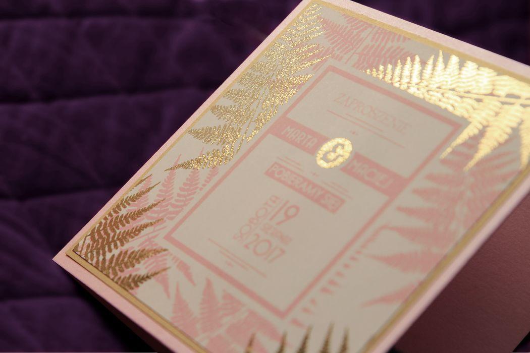 Oryginalne zaproszenia ślubne ze złotym nadrukiem