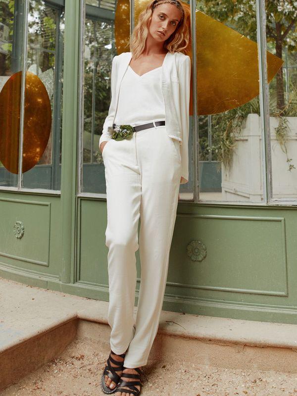 LULOMOON - Pantalon de tailleur de mariée blanc - Myphilosophy Paris