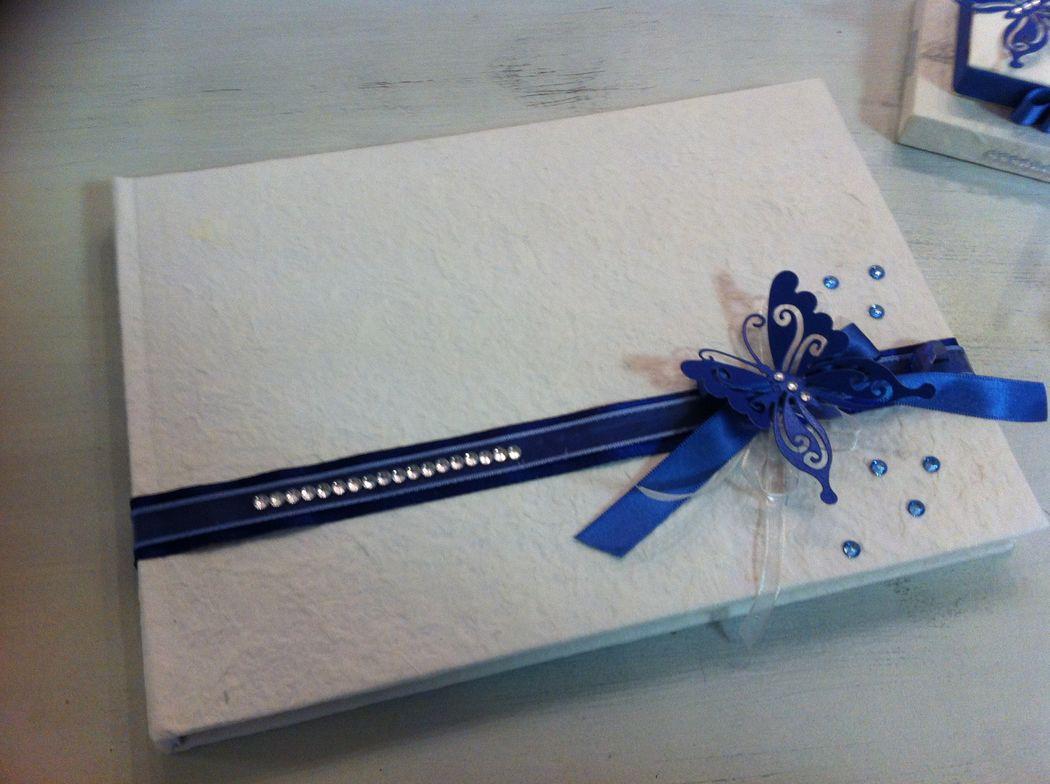 Guest book libro orspiti tema farfalle e blu