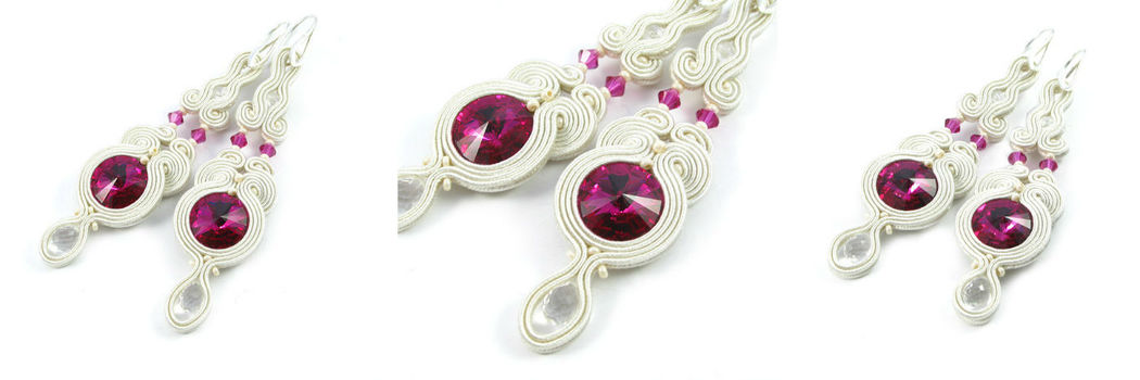 Małgorzata Sowa - PiLLow Design, Biżuteria ślubna sutasz. Kryształowe kolczyki ślubne - kryształy Swarovski, kryształ górski, sutasz, srebro
