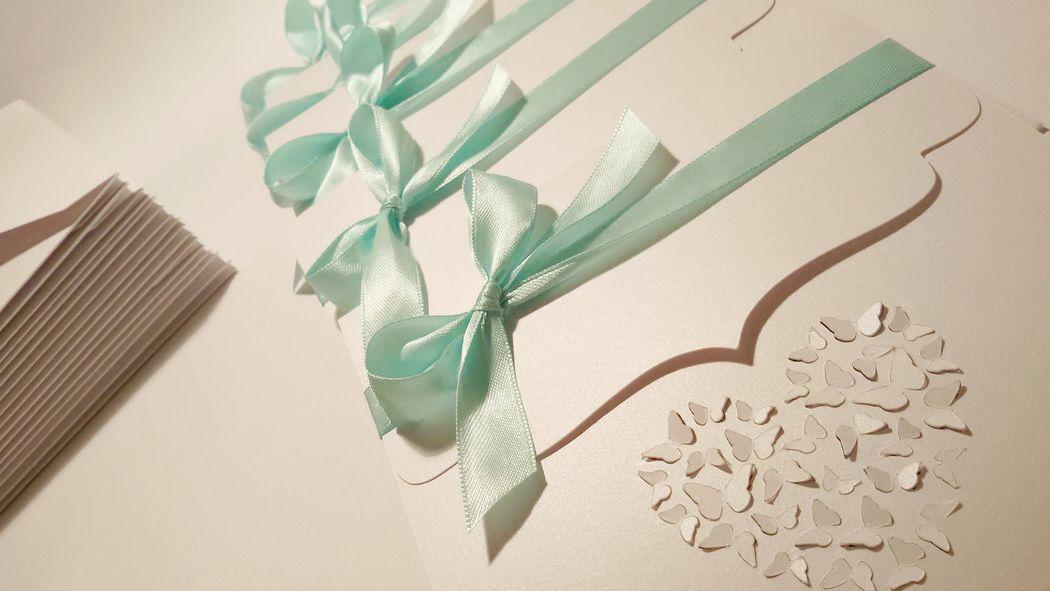 Invito di Nozze - tema farfalle e verde tiffany