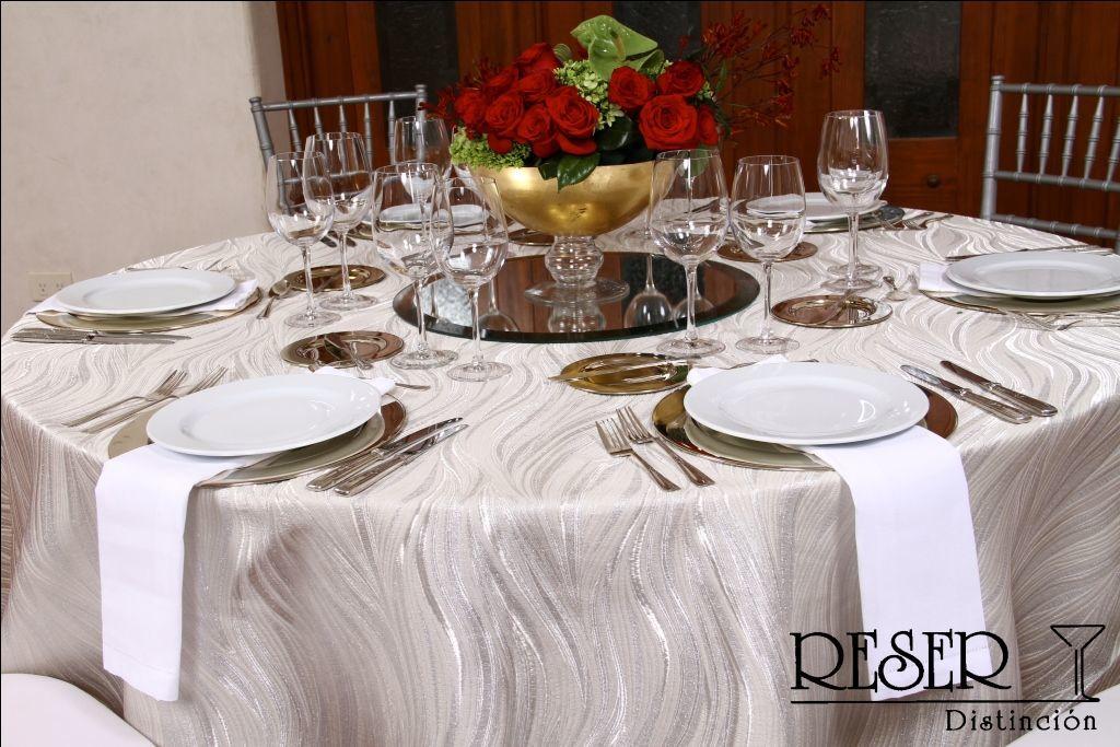 Mantel Shalimar Color Beige con Plata