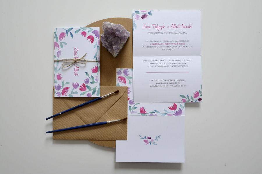 Zaproszenia ślubne Polne kwiaty No1 - drobne różowe kwiatki.