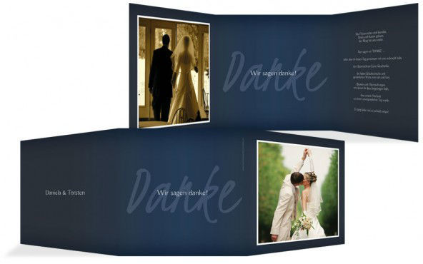 Beispiel: Dankeskarten, Foto: Hochzeitskarten- Paradies.
