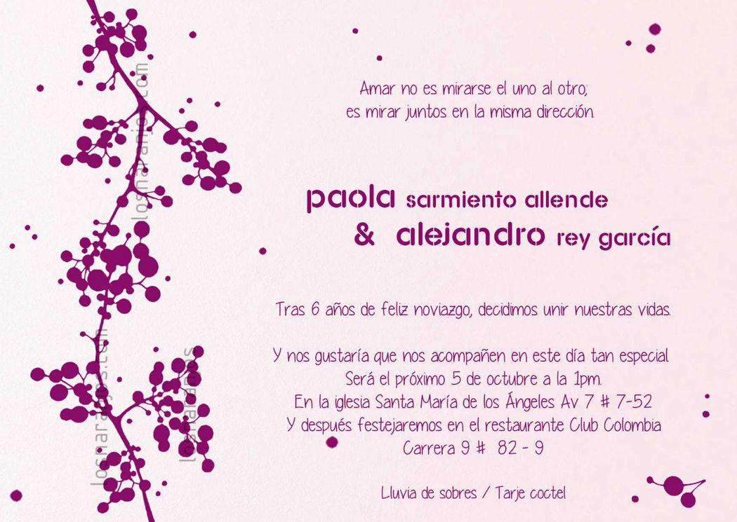 S_AH tarjetas de matrimonio en Bogotá